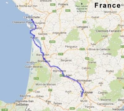 Itinéraire La Rochelle - Toulouse
